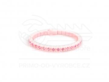 Náramek gumový s kamínky - světle růžový