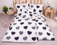 Sedmidílná sada povlečení 140x200+70x90 - Black and White Hearts