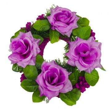 Věnec fialové šišky - 25x25 cm, 4 květy
