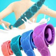 Silikonový kartáč na mytí zad - fialový
