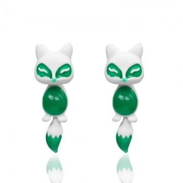 Náušnice - 3D liška, zeleno-bílá