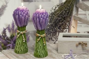 Dekorativní vonná svíčka - 3D svazek levandule, plastický dekor, 440g