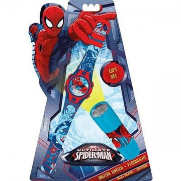 Dárková sada Spiderman hodinky a LED baterka