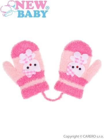 Dětské zimní rukavičky New Baby se šňůrkou kočička růžové
