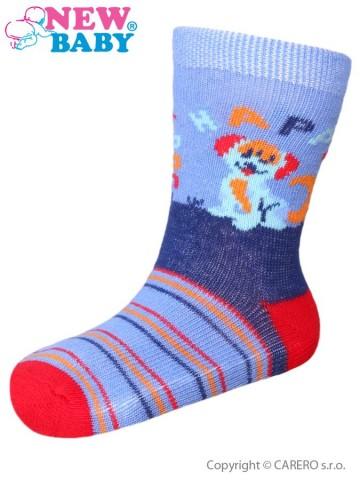 Dojčenské bavlnené ponožky New Baby modro-červené happy dog