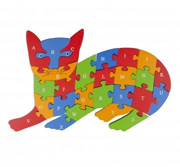 Készségfejlesztő fa puzzle - macska