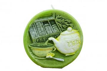 Dekorativní vonná svíčka - zelený čaj, plastický dekor, 390g