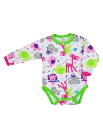 Dojčenské body celorozopínacie Bobas Fashion Zoo zelené pre dievčatá