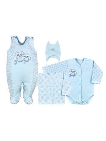 4-dielná dojčenská súprava v Eko krabičke Koala Sovička modrá