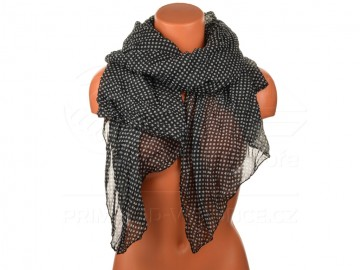 Letní šátek s motivem kvítků, 170x75cm - černý