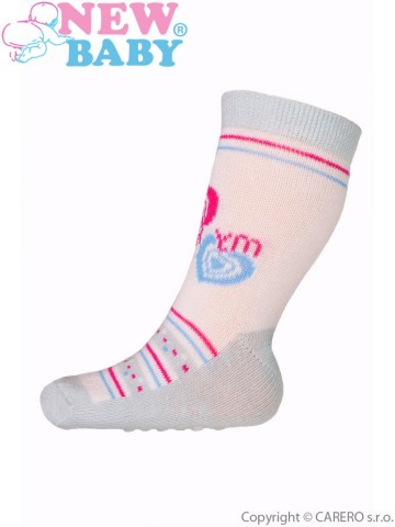 Dojčenské ponožky New Baby s ABS sivo-ružové my heart