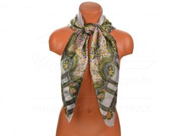 Velký šátek s motivem kvítečků, 90x90cm - bílý