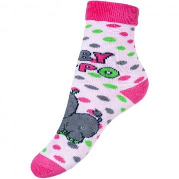 Dětské froté ponožky New Baby s ABS růžové hippo