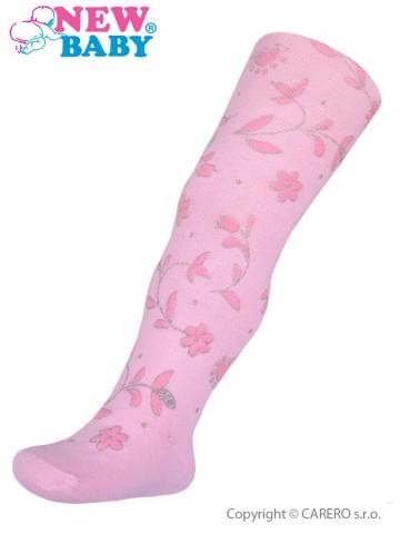 Bavlněné punčocháče 3D New Baby růžovo-růžové