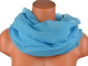 Dámský jednobarevný tunelový šátek - modrý