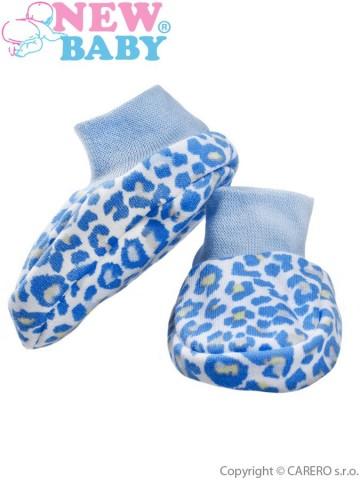 Kojenecké bavlněné capáčky New Baby Leopardík modré