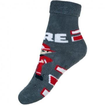 Dětské froté ponožky New Baby s ABS šedé s hasičem