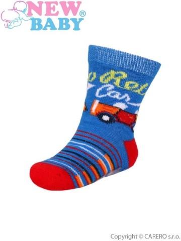 Kojenecké bavlněné ponožky New Baby modro-červené retro car
