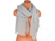 Dámský jednobarevný bavlněný šátek s perlami - šedý