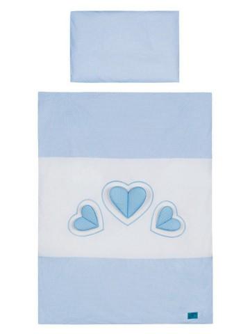3-dílné ložní povlečení Belisima Tři srdce 90/120 bílo-modré