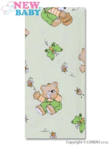 Flanelová plienka s potlačou New Baby zelená s medveďom honey