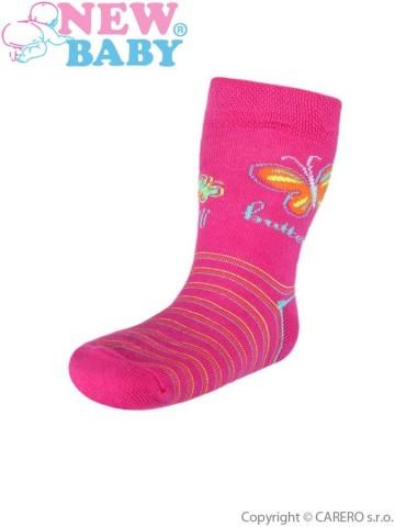 Detské bavlnené ponožky New Baby ružové s pruhmi butterfly