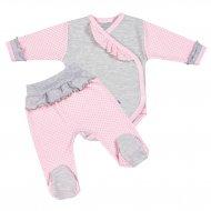 2-dílná kojenecká souprava New Baby Puntík II šedo-růžová