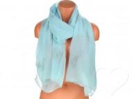 Dámský jednobarevný bavlněný šátek s kamínky - azurový