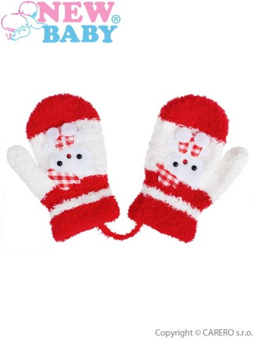 Dětské zimní rukavičky New Baby se šňůrkou kočička červené