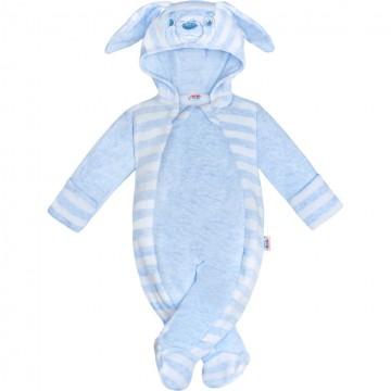 Kojenecká semišková kombinéza New Baby Rabbit modrá