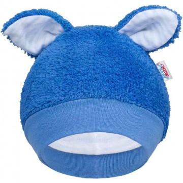 Zimní kojenecká čepička New Baby Ušáček modrá