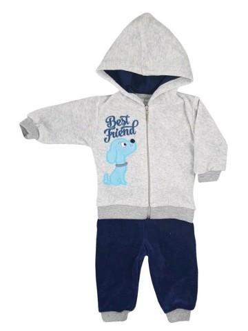 2-dielná semišková dojčenská súprava Koala Best Friend chlapec tmavo modrá