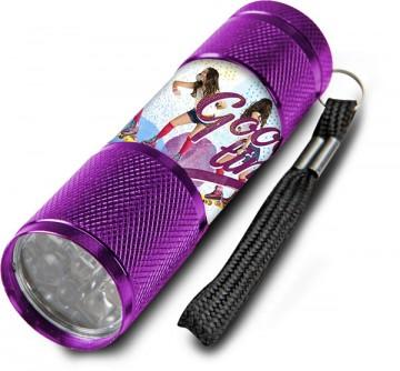 Dětská hliníková LED baterka Soy Luna lila