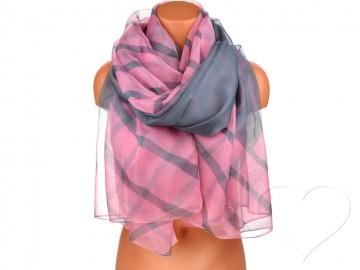 Eșarfă pentru femei cu dungi - roz deschis