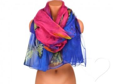 Dámský šátek s motýly - modrý