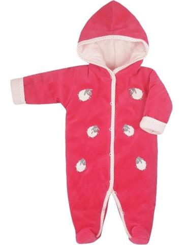 Zimní kojenecká kombinéza Bobas Fashion Ovečky malinová