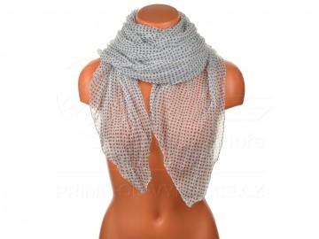 Letní šátek s motivem kvítků, 170x75cm - bílomodrý