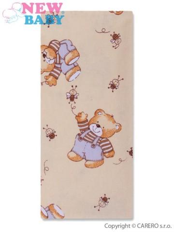 Flanelová plena s potiskem béžová s medvědem honey