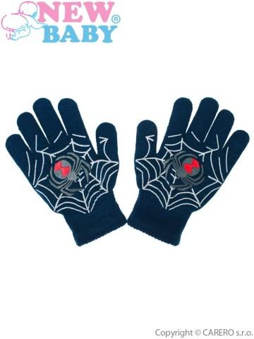 Dětské zimní rukavičky New Baby s pavoukem modré