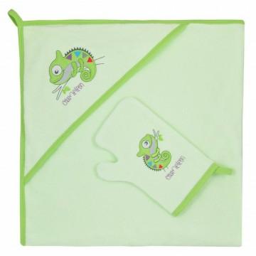Dětská osuška s žínkou Bobas Fashion Chameleon zelená