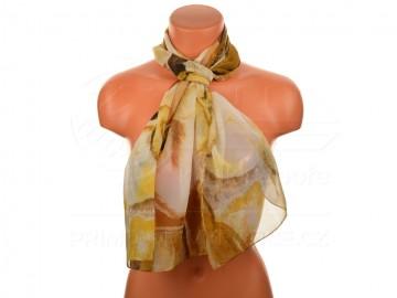 Letní šátek - abstraktní, 165x50cm - hnědý