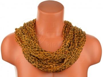 šátek tunel leopard - oranžový