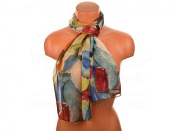 Letní šátek - abstraktní, 165x50cm - šedomodrý