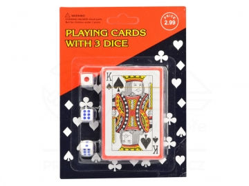Whistové hrací karty a 3 kostky (52 karet + 2x žolík)