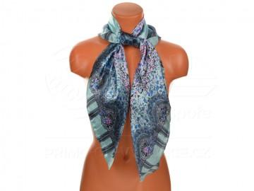 Velký šátek s motivem kvítečků, 90x90cm - světle modrý