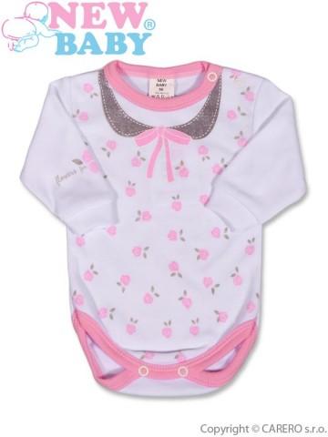 Dojčenské body s dlhým rukávom New Baby Jeans ružové
