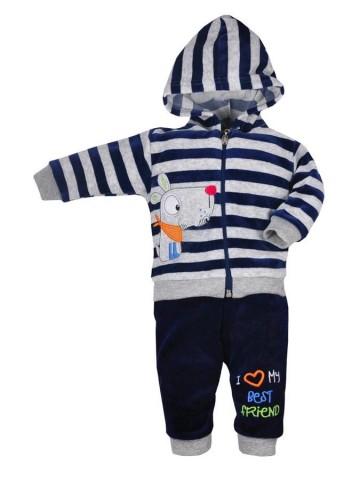 2-dielná semišková dojčenská súprava Koala Najlepší Priateľ tmavo modrá
