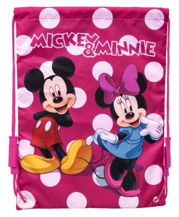 Taška na tělocvik a přezůvky Mickey a Minnie puntíky 40 cm