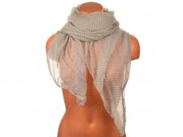 Letní šátek s motivem kvítků, 170x75cm - světle šedý