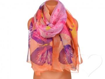 Dámský šátek s motýly - oranžovorůžový
